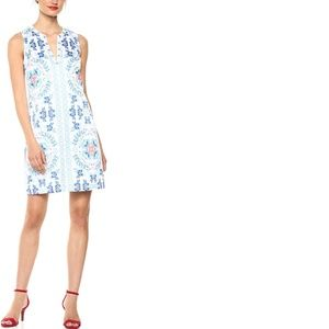 Printed Dress with Beaded Neckline